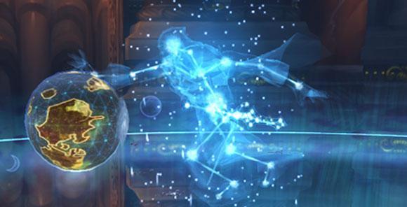 Algalon el Observador sobre un modelo tridimensional de Azeroth en Ulduar