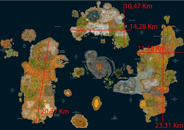 Tamaño de los continentes de Azeroth