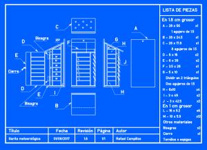 Plano de garita meteorológica en azul/blanco