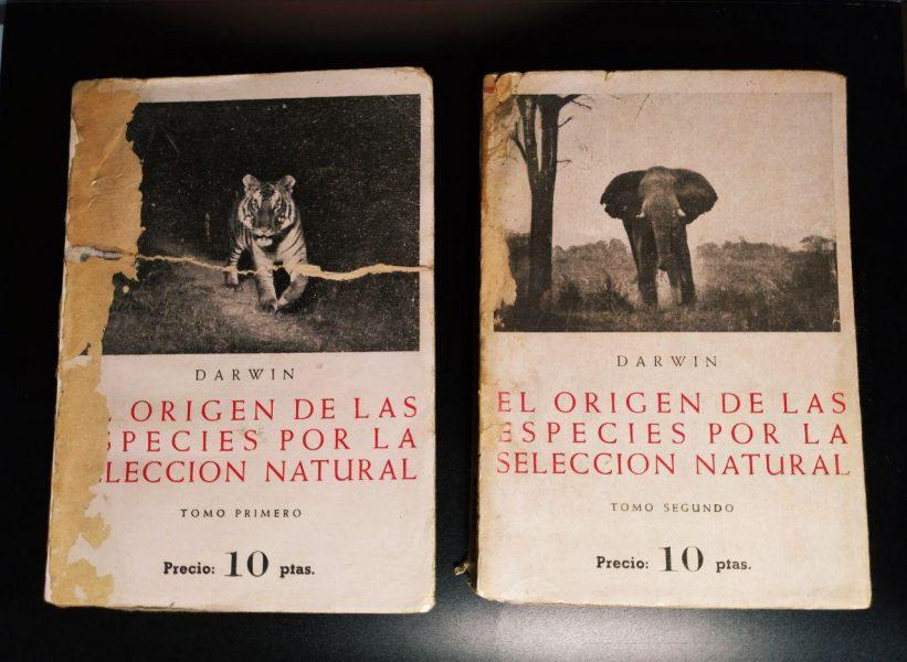 Portada de El origen de las especies por la sección natural (Vol 1 y 2, Ed. Bergua 1936)